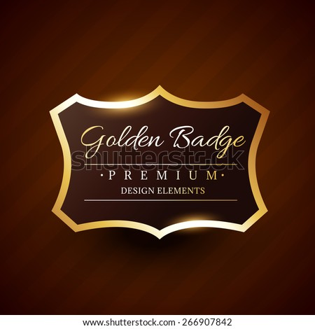 golden premium badge label vector design illustration - stock vector