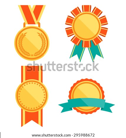 Golden Premium Quality Best Flat Labels Medals Collection Isolated on White Background - stock vector