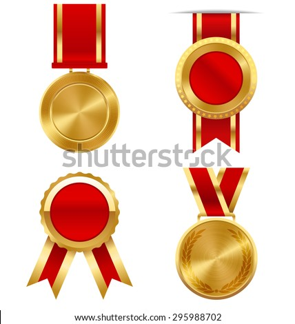Golden Premium Quality Best Labels Medals Collection Isolated on White Background - stock vector