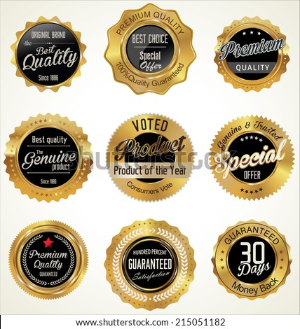 Golden Premium Quality Labels - stock vector