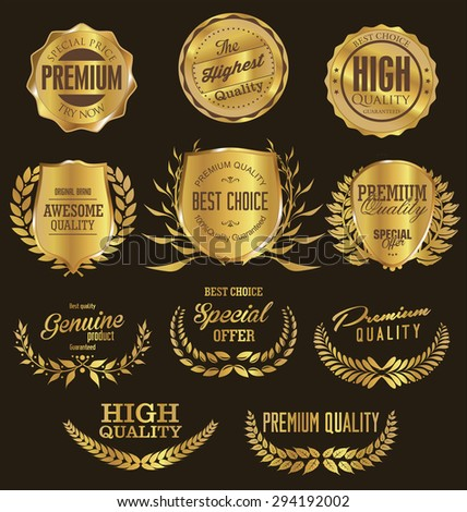 Golden premium quality retro vintage shields and laurels - stock vector