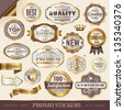 golden promo stickers, labels and seals - stock vector