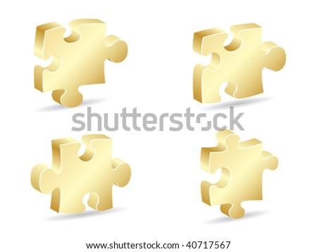 golden puzzle piece vector illustration - stock vector
