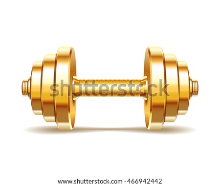 Golden realistic dumbbell isolated on white background. Realistic vector illustration.