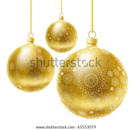 Golden realistic vector Christmas balls set. - stock vector