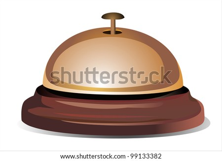 Golden reception bell isolated on white background - stock vector