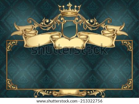 Golden retro emblem & frame - stock vector