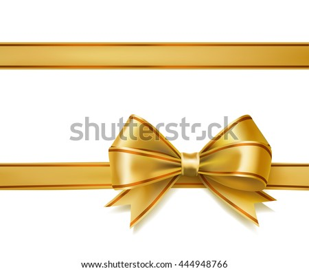 golden ribbon bow on white. vector decorative design elements - stock vector