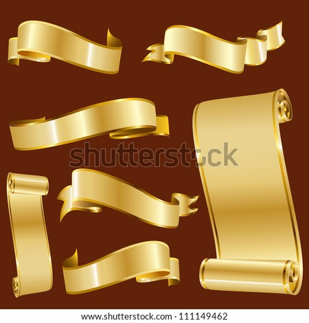 Golden Ribbons Isolated On Red Background, Vector illustration, Graphic Design Useful For Your Design. Logo Symbols - stock vector