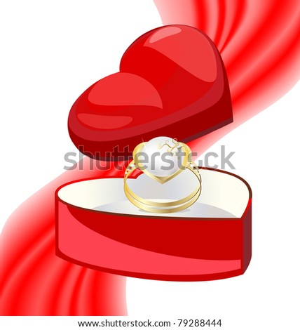 golden ring-pearl in the box-heart - stock vector