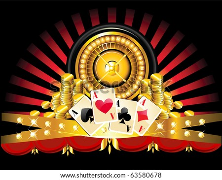 golden roulette wheel with coins and playing cards - stock vector