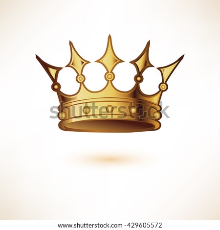 Golden Royal Crown. Isolated on white. Vector Illustration.