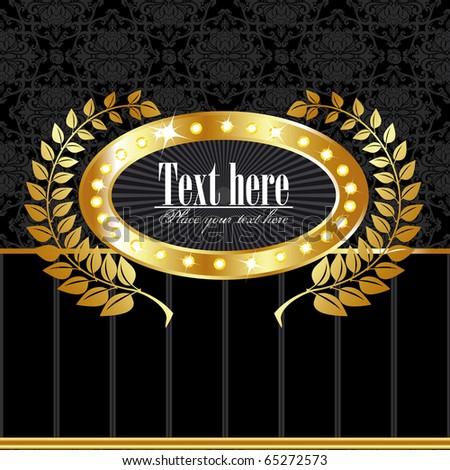 Golden royal label on black seamless background - stock vector