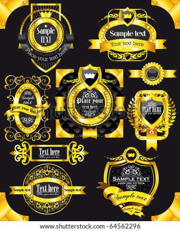 Golden royal labels on black background with corners - stock vector