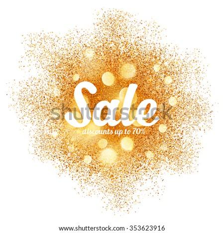 Golden sand splash vector Sale label on white background - stock vector