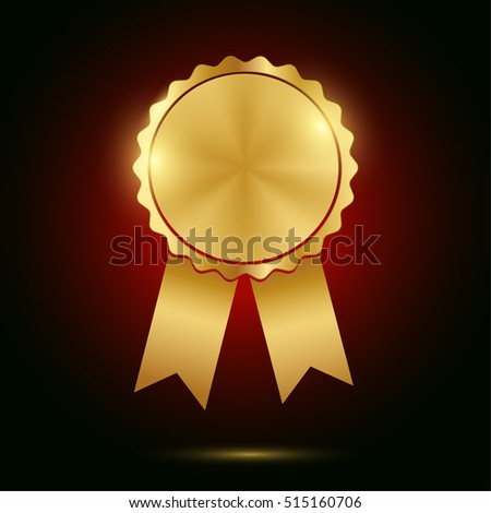 golden seal of quality template with ribbons