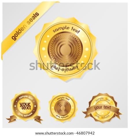golden seals - stock vector