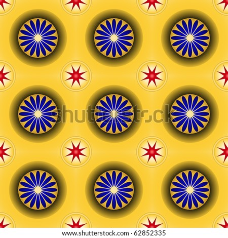 Golden seamless pattern with hemispheres and rings - stock vector
