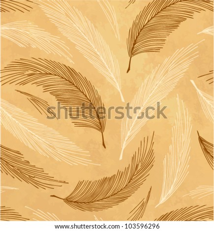 Golden seamless vintage background with plumes - stock vector