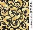 Golden seamless wallpaper. EPS 10 vector illustration. - stock vector