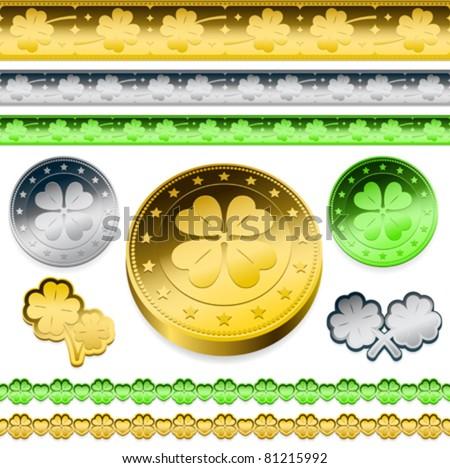 golden shamrock token coins set - stock vector