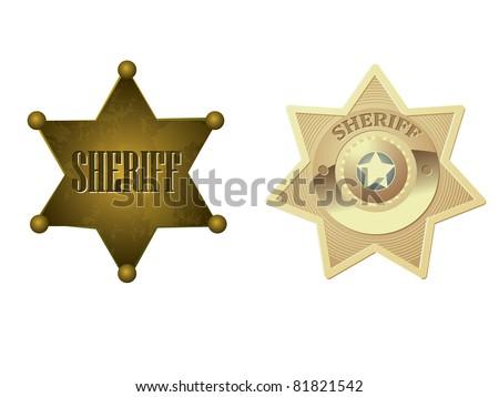 Golden sheriff badge - stock vector