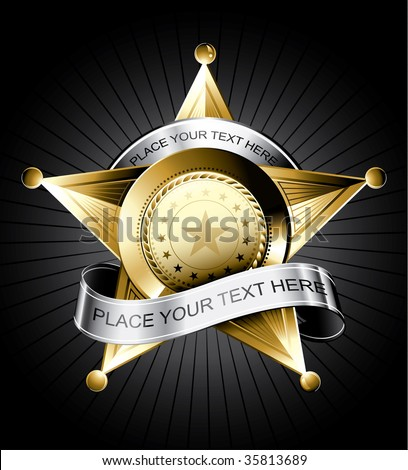 Golden sheriff badge design with a silver ribbon for text - stock vector