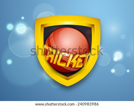 Golden shield with ball and 3D text Cricket on shiny blue background. - stock vector