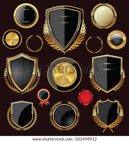 Golden Shields, labels and laurels, black edition - stock vector