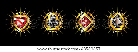 Golden shiny card suits isolated on black background. - stock vector