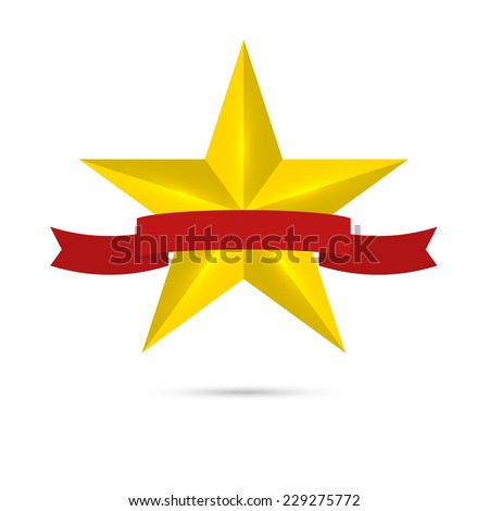 Golden shiny, glossy star with red ribbon. Symbol awards, winning, encourage. mark the best. rank - stock vector