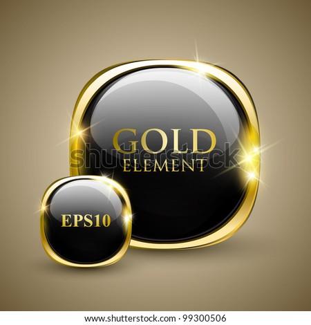 Golden shiny modern element. Golden Web button. Vector sticker. Part of set. - stock vector