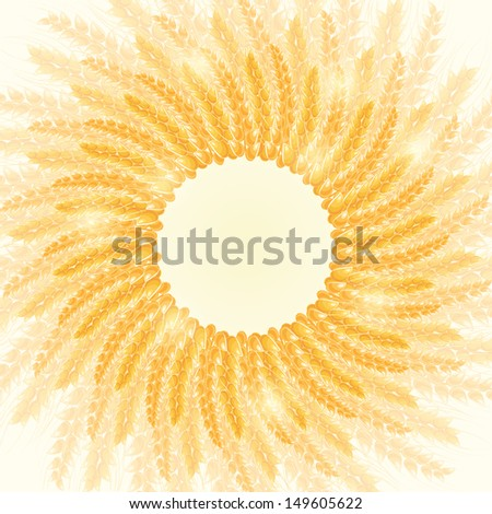 Golden Shiny Wheat Round Frame Card. Harvest Conceptual Illustration - stock vector