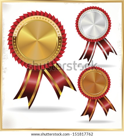 Golden, silver and bronze labels - stock vector