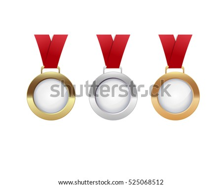 golden, silver and bronze medals with a red ribbon
