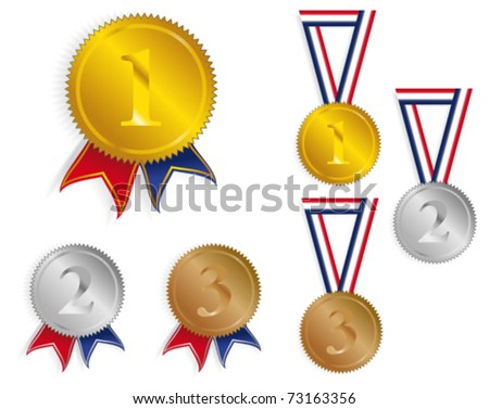 Golden, Silver and Bronze Medals With Ribbons - stock vector