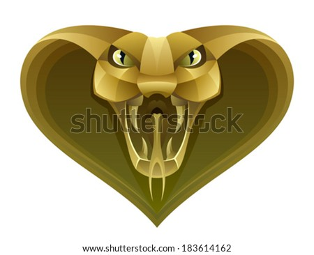 Golden snake head - stock vector
