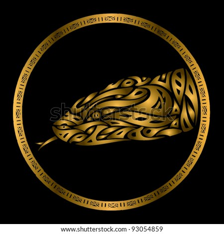 golden snake symbol - vector illustration - stock vector