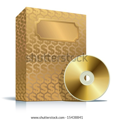 Golden software box with dollar background and CD - stock vector