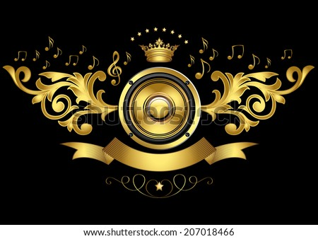 Golden speaker emblem - stock vector