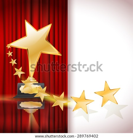 golden star award and a row of stars on red curtain background. vector - stock vector