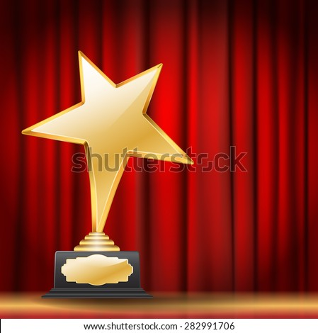 golden star award on red curtain background - stock vector