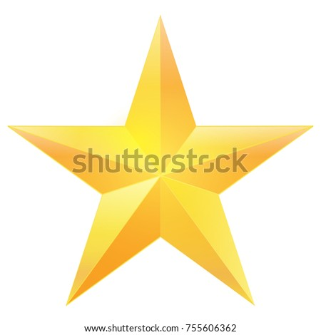 Golden star christmas icon isolated on white background. vector illustration