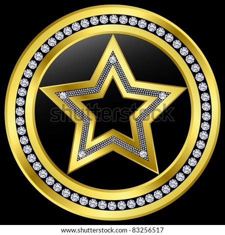 Golden star emblem with diamonds, vector - stock vector