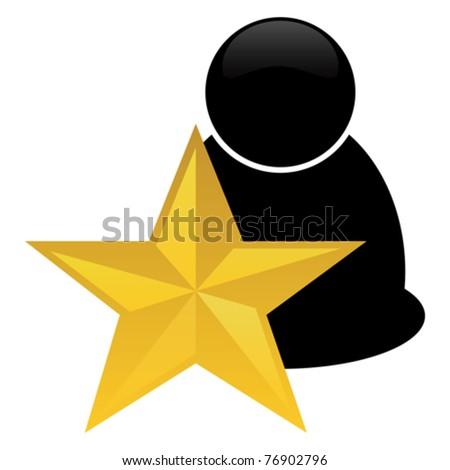 golden star icon - stock vector