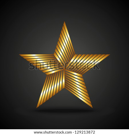 Golden star icon on dark background - stock vector