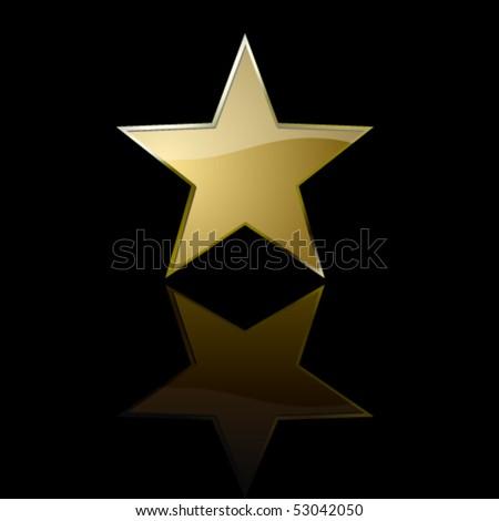 Golden star in the dark - stock vector