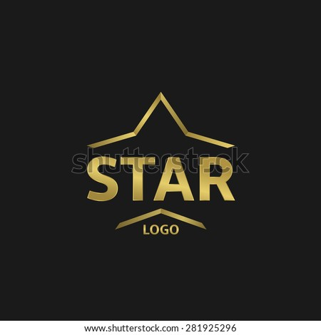Golden Star logo on the black background. Vector illustration - stock vector
