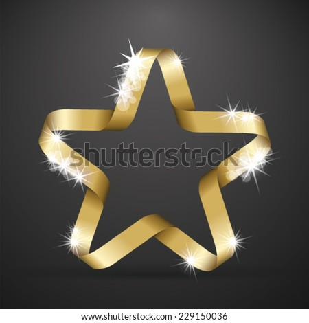 Golden star made from ribbon - stock vector
