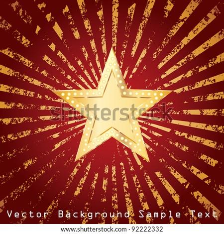 golden star on grunge golden rays - stock vector